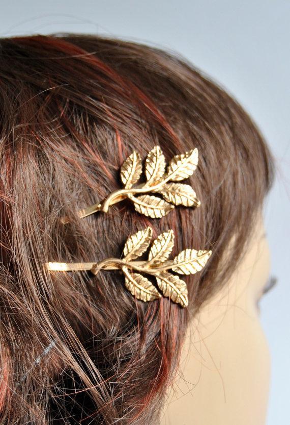 Hochzeit - Gold Leaf  Bobby Pins Bridal Hair Accessories Bridal Hair Pins Bridal Hair Clips Rustic Woodland Wedding  Grecian Hair Accessories