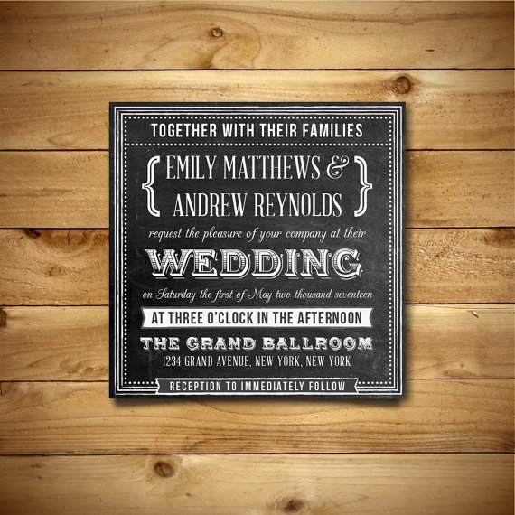Chalkboard Printable Wedding Invitation Template - Square Format