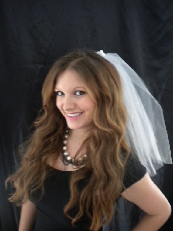 Wedding - Bachelorette Veil - Sequin Band