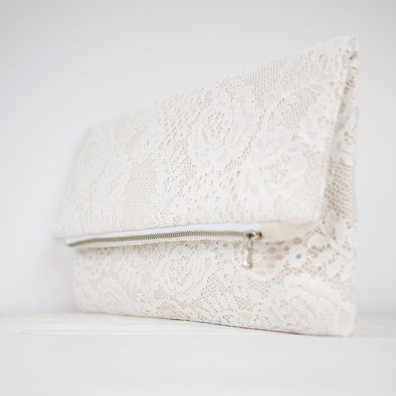 Mariage - Lace clutch, fold over lace clutch, shabby chic wedding clutch