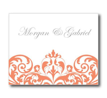 Wedding Thank You Card Template Instant Download Damask Coral