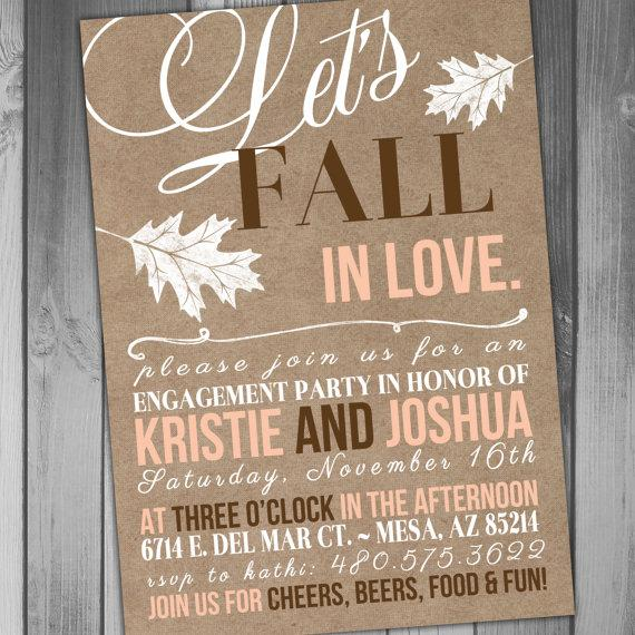 Mariage - Engagement Party Invitation Fall Engagement Party All Because Fall in Love Kraft Invitation Printable Wedding