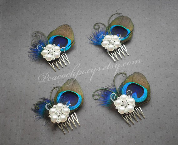 Свадьба - Peacock wedding hair accessories, Peacock feather fascinator, feather hair clip, peacock feather comb, bridesmaids - PRETTY PEACOCK