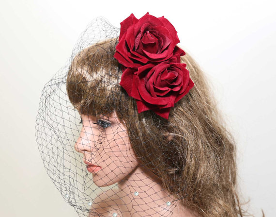 Black Birdcage Veil Red Rose Hair Accessorywedding Clip Gothic Double Bridal