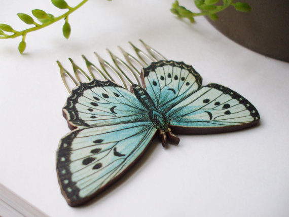 Свадьба - x2 Beautiful Butterfly Hair Comb Set Something Blue Bridal Hair Accessory Barrette Hair Clip Pretty Fashion Statement Ready to Ship