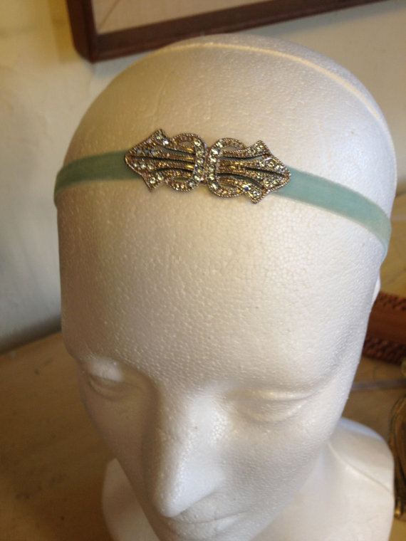 Свадьба - Flapper Headband, Blue Swarovski, Something Blue, Blue, Blue 1920s Dress Headpiece, robins egg Blue headpiece