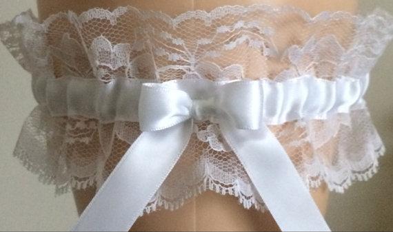 Mariage - Wedding Garter, Bridal Garter, Prom Garter, White Lace Garter, Wedding Accessories