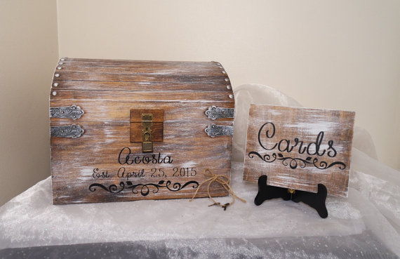 Aged White Wedding Card Chest With Card Slot, Personalized Wedding ...