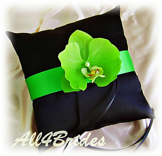 Wedding - Ring bearer pillow black and green orchid, weddings ceremony ring cushion.