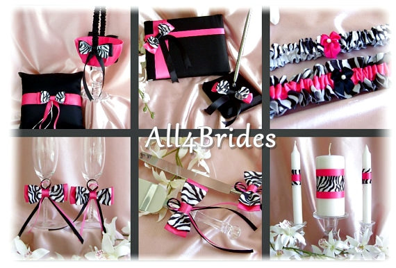 Mariage - Zebra Wedding Flower girl basket, ring pillow, guest book, garters, candle, flutes, cake set, 13pc Hot Pink Wedding Color