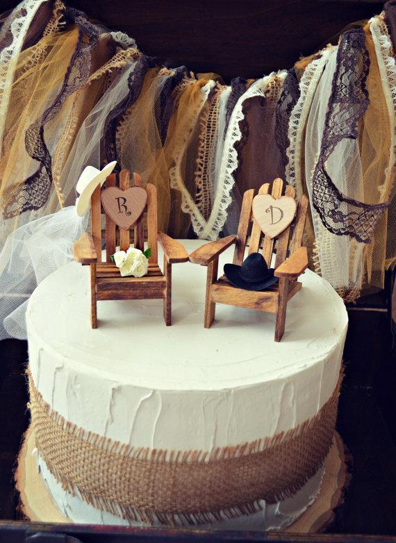 Wedding - western-country-rustic-wedding-cake topper-fall-hat-boots-initials-custom-bride-groom-ivory-chairs-wood-Adirondack-western wedding-cowboy