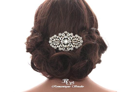Mariage - Swarovski crystal GOLD bridal comb Rhinestone wedding hair comb Vintage hair comb Crystal hairpiece Wedding headpiece Bridal accessory 5179G