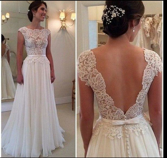 Boda - Deep V-Cut Lace Chiffon Wedding Dress Boho Wedding Dress