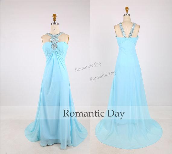 Hochzeit - Women Sexy Beads Halter Sky Blue Sweep Train Long Prom Dress 2015/Evening Dress/Long Party Dress/Celebrity Dress/Beach Dress/Custom Made0394