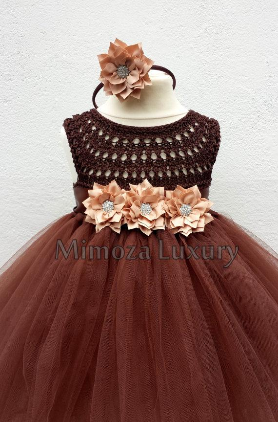 Brown Flower Girl Dress Tutu Dress, Bridesmaid Dress ...