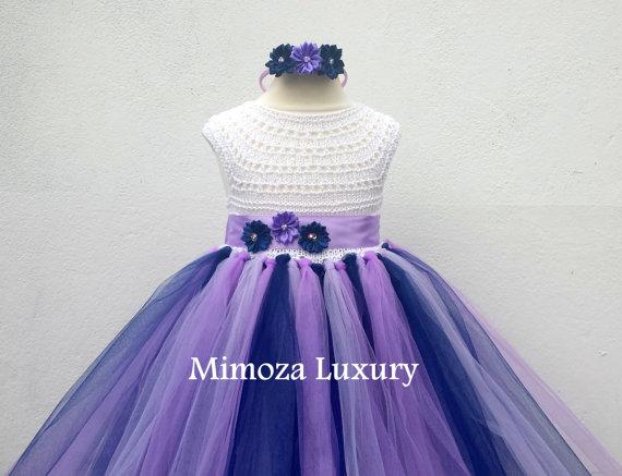 Wedding - Navy Lavender Purple Flower girl dress, tutu dress,bridesmaid dress, princess dress, crochet top tulle dress, hand knit top tutu dress