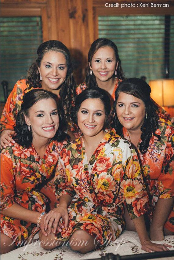 Wedding - Bridesmaid robes, Set of 7, Bridesmaids robe floral, Maid of honor, Mother of  bride, Flower girls, Matching floral getting ready gown robes