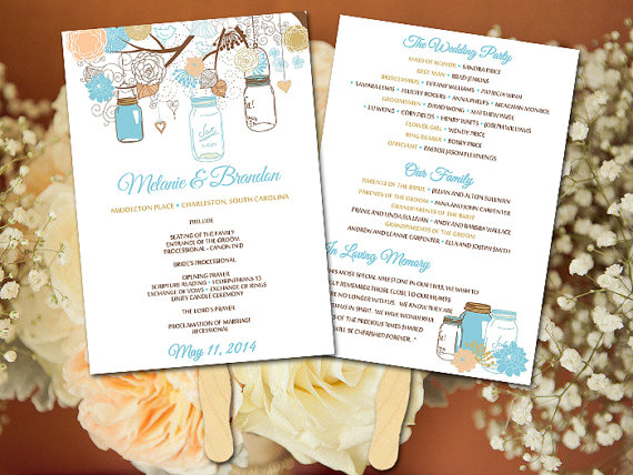 Diy Wedding Fan Program Template Mason Jar Peach Gold Light Turquoise Rustic Ceremony Outdoor