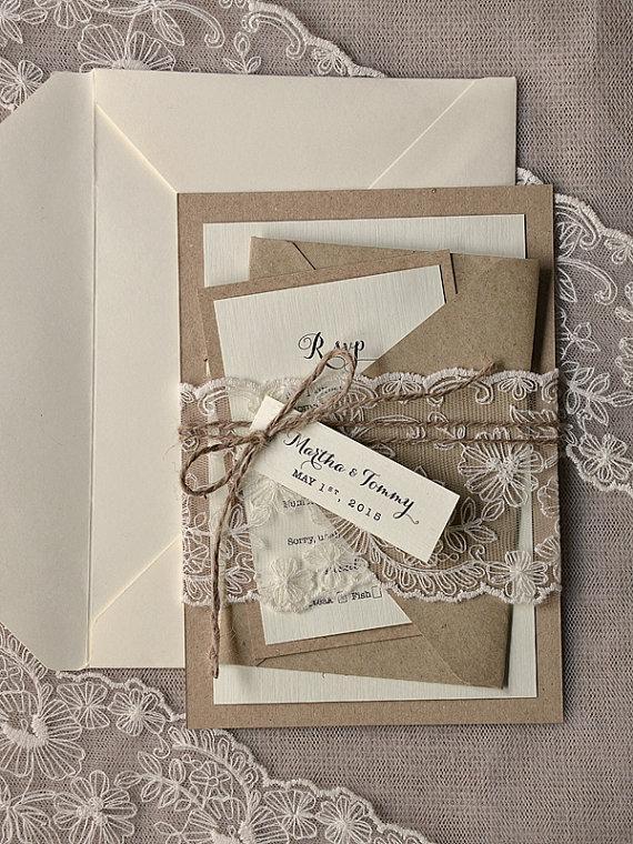 زفاف - Rustic Wedding Invitations (20),Wedding Invitation Suite,Buralp Wedding Invitations,Rustic Invitations,Lace  Invitation,Model no:06/laceN/z