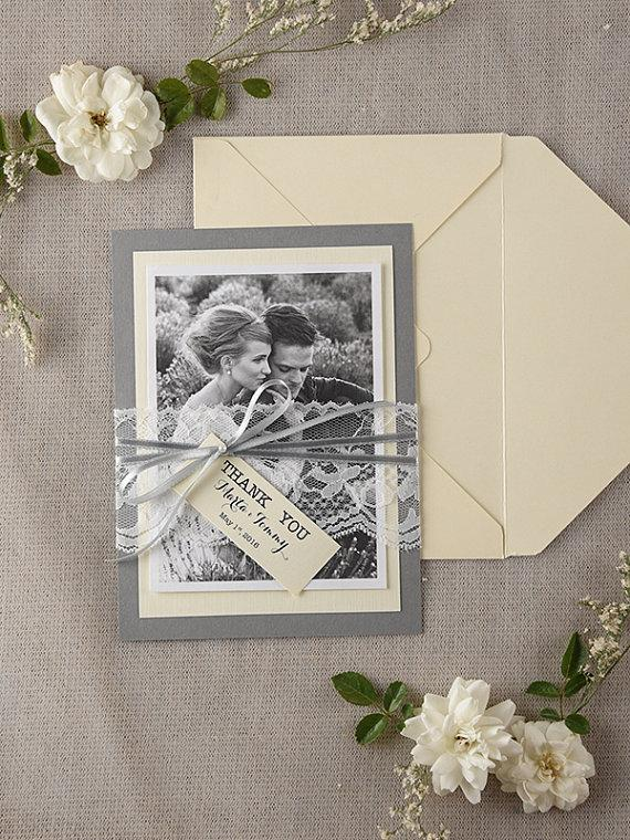 Personalised Wedding Thank You Card Set Of 20 Lace Cards Clic Grey Vintage