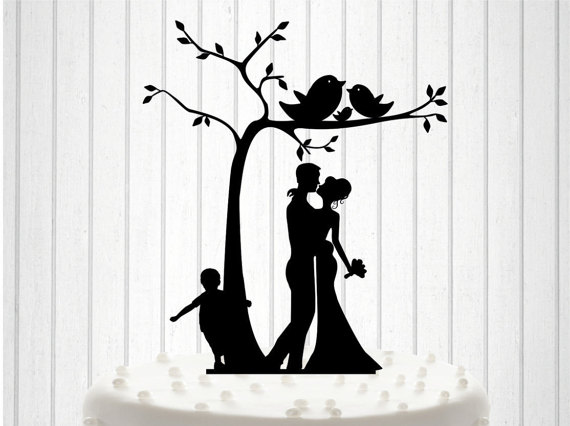 Knit Family - Wedding Cake Topper, Cake Decor, Silhouette Bride And ...