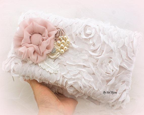 Свадьба - Clutch, Bridal, Wedding, Handbag, Maid of Honor, Ivory, Off White, Blush, Rose, Chiffon, Pearls, Crystals, Vintage Wedding, Elegant