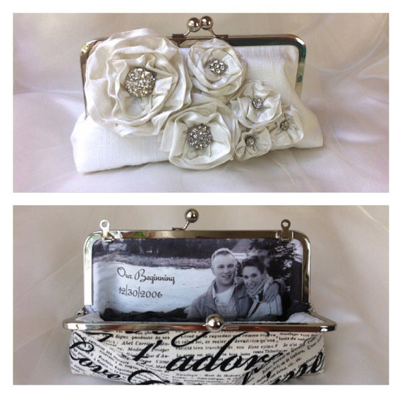 Hochzeit - The Bridal Bouquet clutch silk with vintage rhinestones chain handle add on photo lining