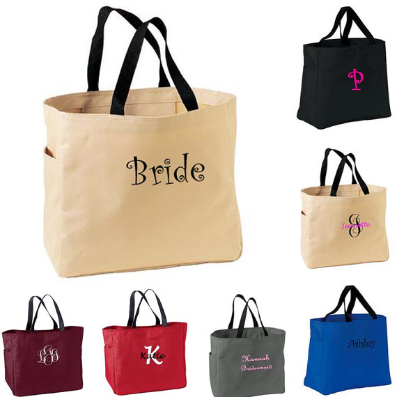 Hochzeit - 2 Personalized Bridemaid Gift Tote Bags, Embroidered Tote, Monogrammed Tote, Bridal Party Gift