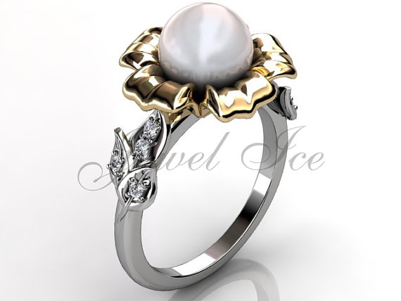 Wedding - 14k two tone white and yellow gold white pearl diamond unusual unique floral engagement ring, bridal ring, wedding ring ER-1045-4