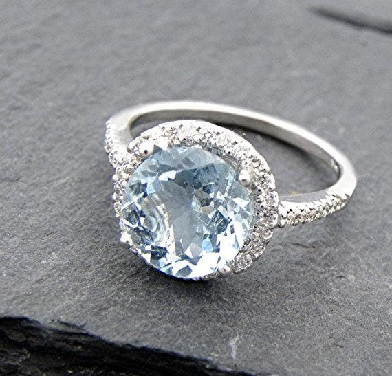 Mariage - AAA Aquamarine Natural Untreated 9.0mm 2.70 carats 14K White gold and diamond Halo ring 0212