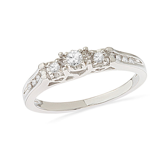 Hochzeit - 1/5 CT. T.W. Diamond Ring, 10k White Gold Engagement Ring, Three Stone Diamond Ring Also Available in Sterling Silver