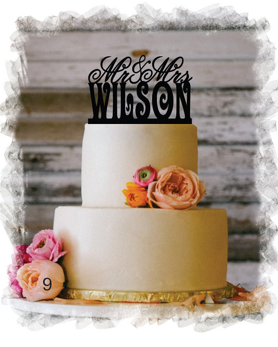 Boda - Monogram Wedding Cake Topper - Mr and Mrs Personalized Acrylic Cake Topper With Your Last Name - Monogram Personalized Cake Topper