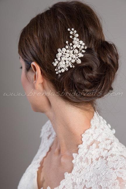 Mariage - Wedding Hair Comb, Rhinestone and Pearl Bridal Fascinator, Wedding Headpiece, Wedding Hair Accessory, Birdcage Fascinator - Whitney