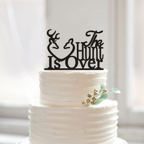 Свадьба - The hunt is over cake topper-unique acrylic cake topper-antler cake toppe for wedding -cusom funny word cake topper-rustic cake topper