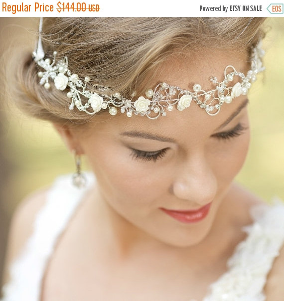 Bohemian Wedding Headpiece Bridal Hair Vine Accessories Headband Flower Halo Boho