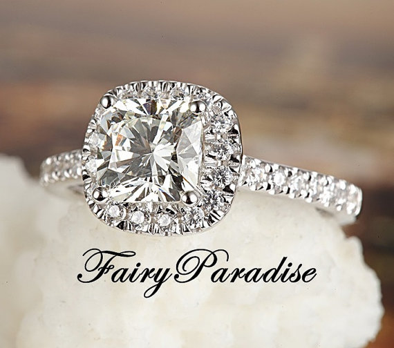 a702c36f9e59cd Best Seller! 2 Ct Cushion Cut Halo Engagement / Promise Ring in 925 Silver  man made diamond pave band, lab made diamond ( FairyParadise)