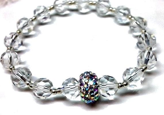 a9f7e7ca17ad2 Bridal Clear Crystal Bracelet, With Swarovski Crystal AB Rondelle ...