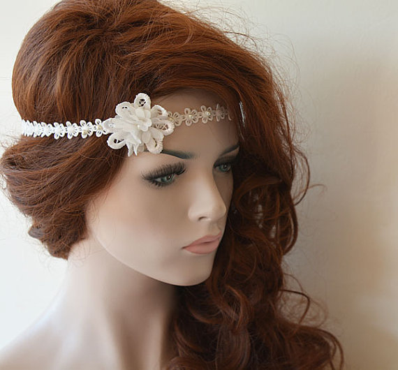 Mariage - Rustic Lace Wedding Headband, Flower and Lace Headband, Ivory Lace, Bridal Hair Accessory, Rustic Wedding Hair Accessory