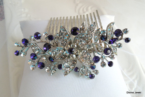 Bridal purple swarovski crystal wedding comb wedding hair for Where to buy wedding accessories