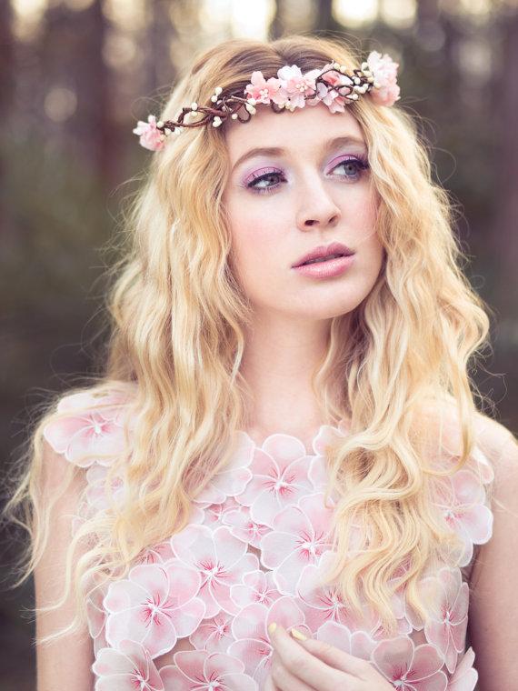 زفاف - pink flower crown, wedding headpiece, flower crown, bridal headband, wedding headband, bridal headpiece, wedding accessories
