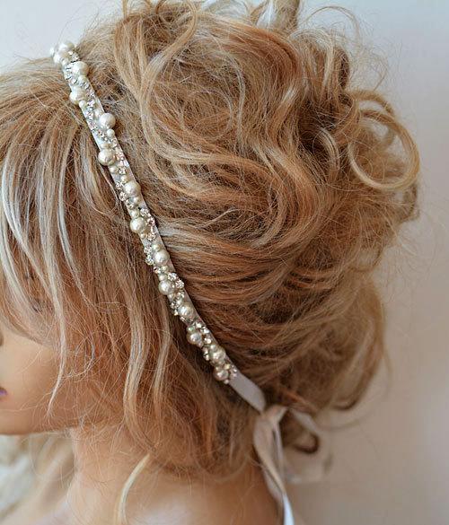 Mariage - Wedding headband, Rhinestone and Pearl headband, Bridal Headband, Bridal Hair Accessory, Wedding hair Accessory