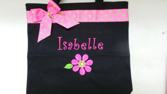 Mariage - Flower Girl Tote Bags Personalized with bow. Embroidered You choose the colors. Adorable