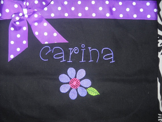 Mariage - Flower Girl Tote Bag Personalized with Name, Flower and ribbon and bow Embroidered You choose the colors. Adorable
