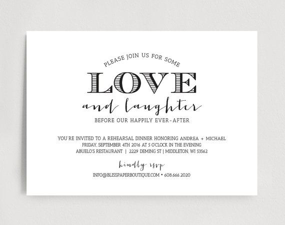 Свадьба - Rehearsal Dinner Invitation, Wedding Rehearsal Dinner Invitation Printable Template, Love and Laughter, PDF, Instant Download