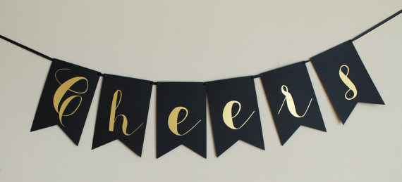 Свадьба - Cheers banner - Gold and black-Large Banner