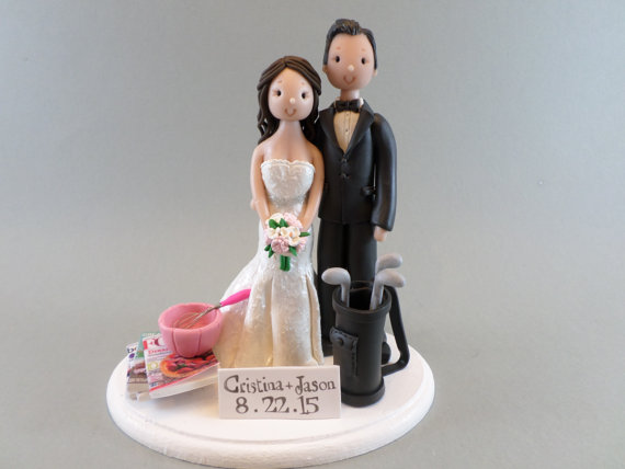 Golfer & Baker Customized Wedding Cake Topper #2388953 - Weddbook