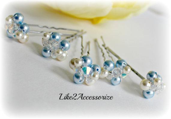 زفاف - Something Blue Bridal Hair Pin Wedding Hair Accessories Gold Pearl Hair Clip Bridesmaid Hair Clip Ivory White Bridal Pearl Hair Pin Set of 5