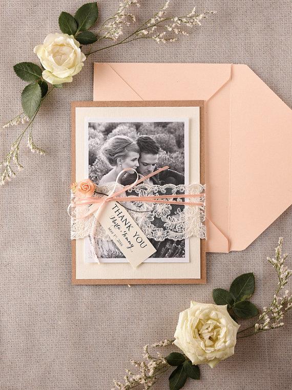 زفاف - Wedding Thank You Card, Rustic Thank You Cards, Lace Wedding Thank You Card, Peach Eco Thank You cards, Set of 20, Model no: 04/rts/THC