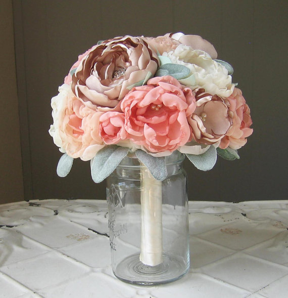 Свадьба - Fabric flower brooch wedding bouquet . Custom colors . peach, coral, champagne, ivory and lamb's ear