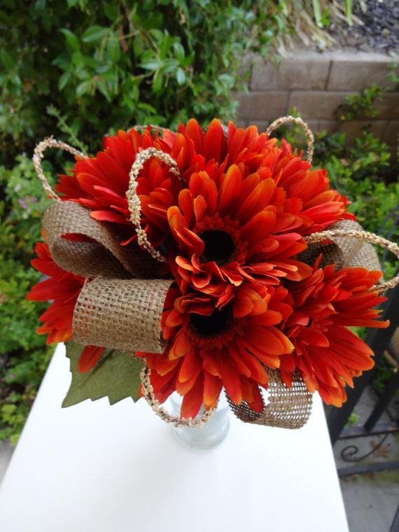 Wedding - Bridesmaid bouquet in fall gerber daisy and trimmed in  burlap
